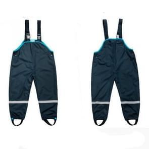 Double Rainproof Waterproof Thick Beach Pants Green Poncho Raincoat Children Bib, Size:M(Black)