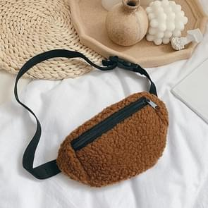 Kinderen tas borst Cross-Body Tas cute Lambskin taille tas (bruin)