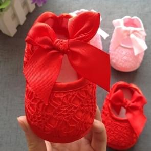 Baby schoenen pasgeboren Baby Girls Princess Baby Girls Schoenen Bowknot Crib Non-slip Schoenen Schoen  Maat:12 (Rood)