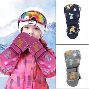 Kinderen Sartoon herten konijn Print patroon lange mouwen winddicht en waterdicht ski handschoenen  grootte: One size (Navy)