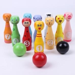 Wooden Cartoon Digital Bowling Children Educational Parent-child Interactive Toys Outdoor Sports Toys(Animal)