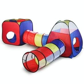 Children Indoor and Outdoor Crawling Folding Game House Four-piece Set Basketball Pool Tunnel Tent House Baby Toys(Four-piece Children Tent)