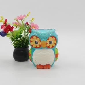 Slow Rebound Ornaments Owl Simulation Stress Relief Toy PU Color Printing Crafts(Colorful 4)