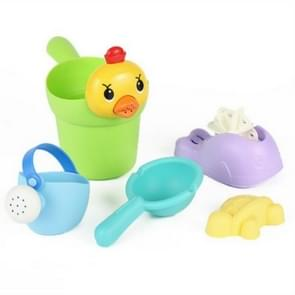 5 in 1 Children Soft Plastic Water Bottle Bath Toys Outdoor Beach Play Sand Tool Set(Random Color Delivery)