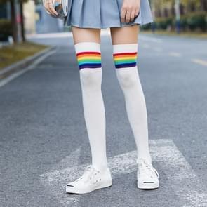 Rainbow Stripe Sweet Thigh Socks Over The Knee Socks for Women In Autumn(White)