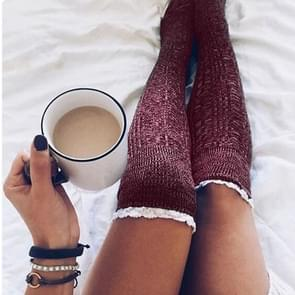 Warm Lace Over The Knee Socks Stack Socks Woman(Wine Red)