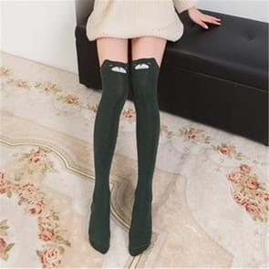 Cute Cartoon Stereo Cat Cotton Knee Socks Stockings Tube Thigh Socks(Dark Green)
