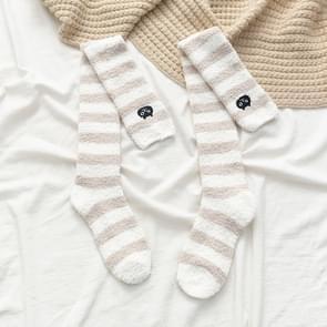 Winter Striped Coral Fleece Thermal Sleep Socks Plus Velvet Thickened Home Thigh Socks(Khaki)