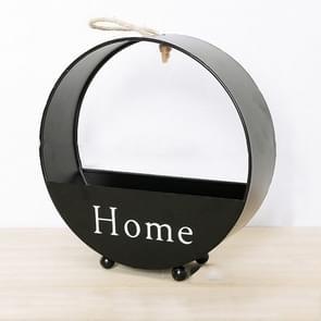 Woonkamer muur decoratie creatieve ijzeren eenvoudige ronde opslag bloem mand muur opknoping (zwart)