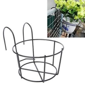 Balkon Hek Ronde Metal Flower Stand Smeedijzeren Muur gemonteerde Bloempot Stand  Grootte: L (Zwart)