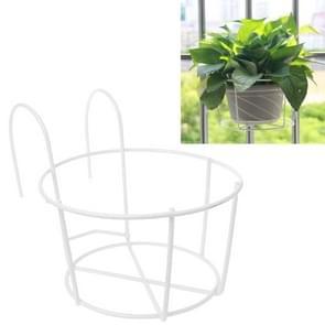 Balkon hek ronde metalen bloem stand smeedijzeren muur gemonteerde bloempot stand  maat: L (wit)