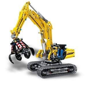 Bouwstenen Mechanische graafmachine kinderen geassembleerd puzzel bouwstenen speelgoed (zonder motor)