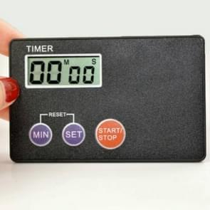 Ultradunne Credit Card vorm formaat digitale LCD keuken Buzzer timer met magnetische mount (zwart)