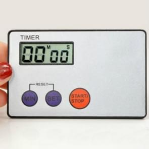 Ultradunne Credit Card vorm formaat digitale LCD keuken Buzzer timer met magnetische mount (zilver)