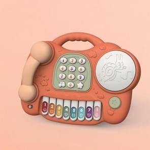 Multifunctionele muziek en licht simulatie piano telefoon speelgoed kinderen puzzel vroege opleiding Speelgoed (Orange)