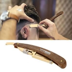 Handleiding scheermes vouwen houten handvat mannen scheermes, kleur: goud