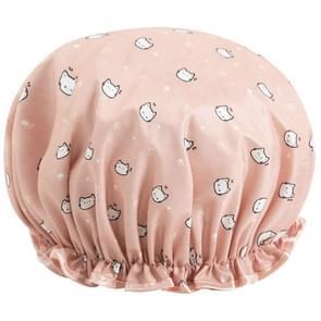Dikke waterdichte badmuts dubbele laag douche haar cover vrouwen levert douche caps  grootte: 28cm (Pink Cat)