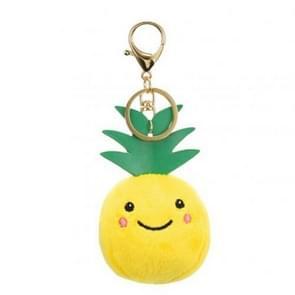 Cute Expression Groenten en Fruit Pluche Pop Sleutelhanger Tas Hanger (Ananas)