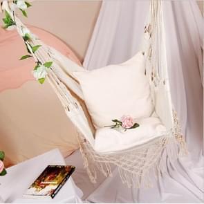 Omzoomde Hangmat Slaapzaal Indoor Opknoping Hangmat Tuin Courtyard Swing Chair met twee primaire kleur kussens