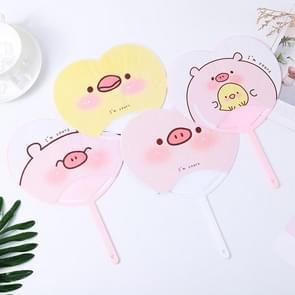 10 PCS Heart-shape Round Fan Cool Summer Portable Hand Fan  Color:Random Color Pattern Delivery (Sweet Pig Duck)
