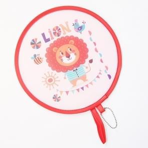 2 PCS Zomer vouwen ventilator kinderen draagbare mini cartoon ronde hand fan (Leeuw)