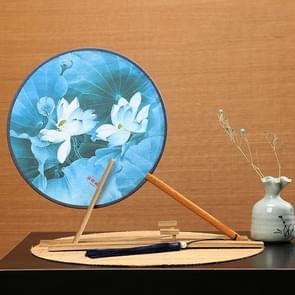 Retro Style Hanfu Group Fan Beech Wood Handle Klassieke Dance Fan (Blue-light Rain Lotus)