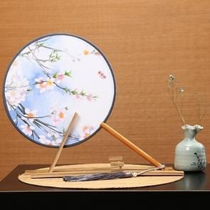 Retro Style Hanfu Group Fan Beech Wood Handle Klassieke Dance Fan (Blauw scherm met perzik)