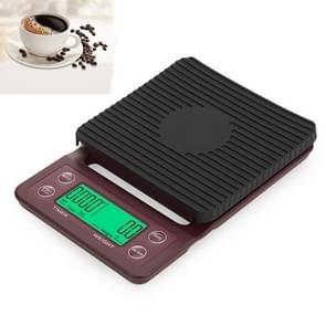 Hand Punch Koffie Schalen Timing Electronic Timer Scale Keuken Schalen  Model: 3kg/0.1g (Wijn Rood)