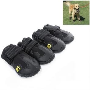 4 in 1 Herfst Winter Pet Dog Foot Cover waterdichte schoenen  grootte: 6x4cm (Zwart)