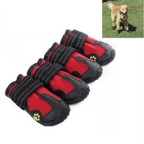 4 in 1 Herfst Winter Pet Dog Foot Cover waterdichte schoenen  maat: 7.5x6.4cm (Rood)