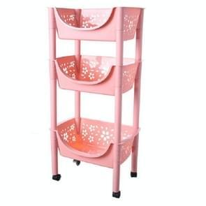 Vegetable Storage Rack multifunctionele afneembare keukenplank met wielen 3-laags opslag met grote capaciteit (roze)