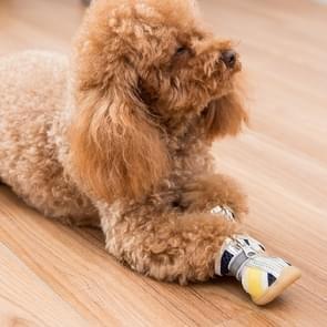 4 in 1 Kleine Hond Puppies Soft Bottom Lente Zomer Ademende Schoenen  Grootte: 5x4cm (Gele Sterren)