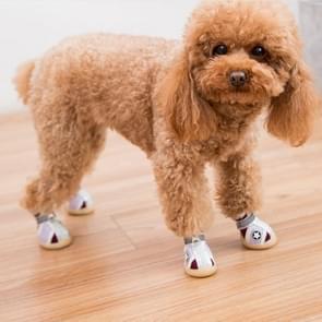 4 in 1 Kleine Hond Puppies Soft Bottom Lente Zomer Ademende Schoenen  Grootte: 5x4cm (Red Stars)
