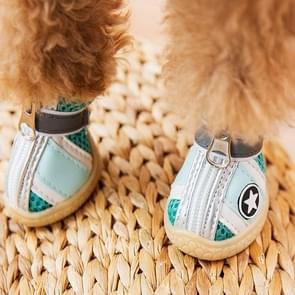 4 in 1 Kleine Hond Puppies Soft Bottom Lente Zomer Ademende Schoenen  Maat: 5.5x4.4cm (Green Stars)