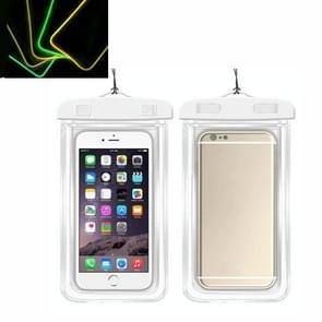 5 PCS TPU Fluorescerende Lichtgevende Touch Screen Waterdichte mobiele telefoon tas geschikt voor mobiele telefoons onder 6 inch (wit)