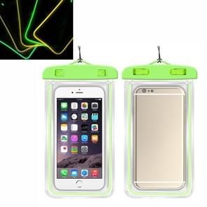 5 PCS TPU Fluorescerende Lichtgevende Touch Screen Waterdichte mobiele telefoon tas geschikt voor mobiele telefoons onder 6 inch (groen)