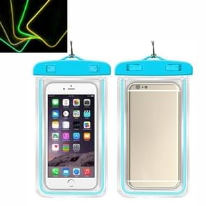 5 PCS TPU Fluorescerende Lichtgevende Touch Screen Waterdichte mobiele telefoon tas geschikt voor mobiele telefoons onder 6 inch (blauw)