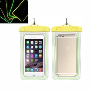 5 PCS TPU Fluorescerend lichtgevend touch screen waterdichte mobiele telefoon tas geschikt voor mobiele telefoons onder 6 inch (geel)