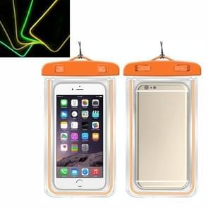 5 PCS TPU Fluorescerende Lichtgevende Touch Screen Waterdichte mobiele telefoon tas geschikt voor mobiele telefoons onder 6 inch (oranje)