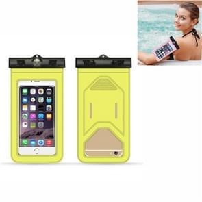 5 PC's geschikt voor mobiele telefoons onder 6 inch mobiele telefoon waterdichte tas met armband en kompas (geel)
