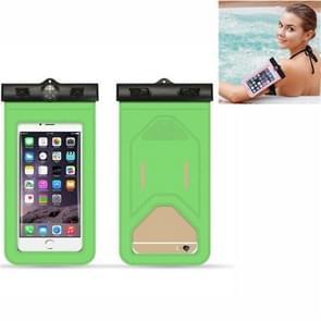 5 PC's geschikt voor mobiele telefoons onder 6 inch mobiele telefoon waterdichte tas met armband en kompas (groen)