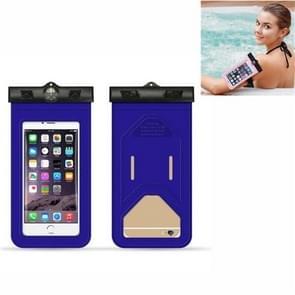 5 PC's geschikt voor mobiele telefoons onder 6 inch mobiele telefoon waterdichte tas met armband en kompas (blauw)