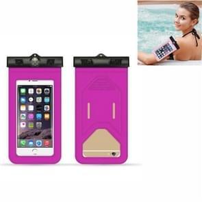 5 PC's geschikt voor mobiele telefoons onder 6 inch mobiele telefoon waterdichte tas met armband en kompas (roze)