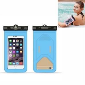 5 PC's geschikt voor mobiele telefoons onder 6 inch mobiele telefoon waterdichte tas met armband en kompas (lichtblauw)