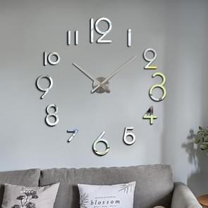 Creatieve DIY Acryl Klok Home Digital Wall Clock (Zilver)