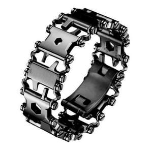 Multifunctionele roestvrij stalen outdoor overleven tool armband voor mannen (Wide Black)