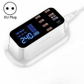 USLION PD18W Charger QC Multi-port USB Smart Digital Power Strip LED Screen Digital Display Charger EU Plug