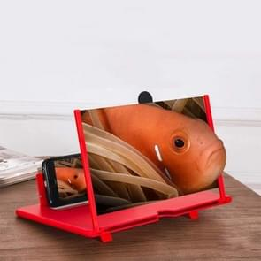 Uittrekkig scherm mobiele telefoon vergrootglas 3D Video Desktop houder van mobiele telefoon  grootte:10 inch (Rood)