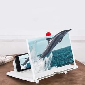 Uittrekkende scherm voor mobiele telefoon vergrootglas 3D Video Desktop houder van mobiele telefoon  grootte: 10 inch (wit)