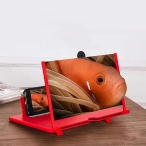 Uittrekkig scherm mobiele telefoon vergrootglas 3D Video Desktop houder van mobiele telefoon  grootte:12 inch (Rood)